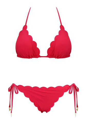 Venus Red Triangle Top with Tie Side Bottom