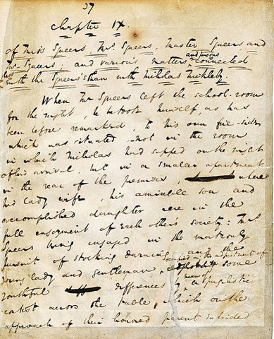 Original manuscript page of a chapter of Nicholas Nickleby, 1839.