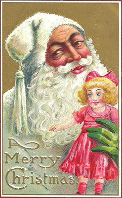An early twentieth-century Father Christmas dressed in white. (Source unknown