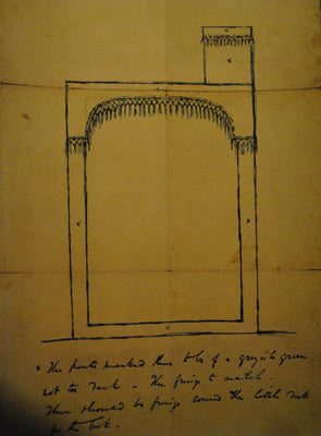 Blue ink design for Dickens's Reading desk