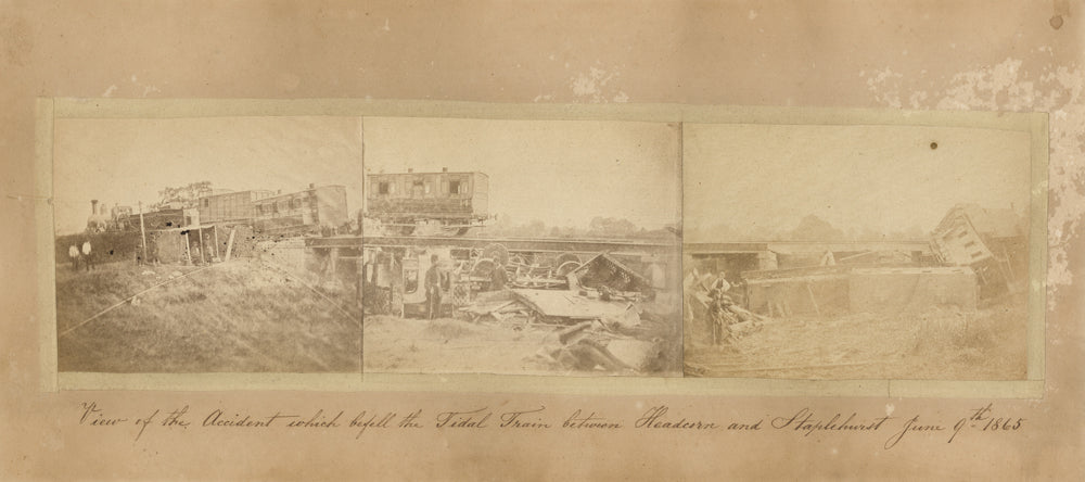 "The original photographs with an inscription below, which reads ""View of the accident which befell the Tidal Train between Headcorn and Staplehurst  June 9th, 1865."" Charles Dickens Museum collection,DH753."