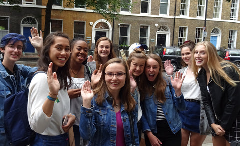 Students standing outside Charles Dickens Museum