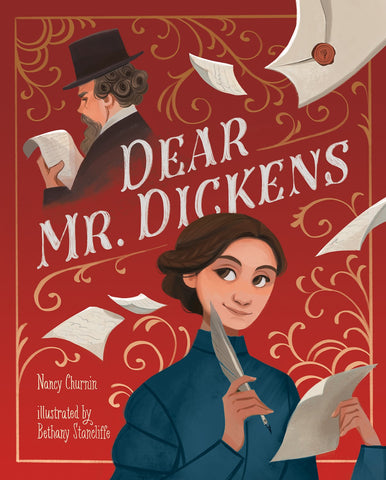 Illustration of Eliza Davis and Charles Dickens from front cover of Dear Mr Dickens by Nancy Churnin