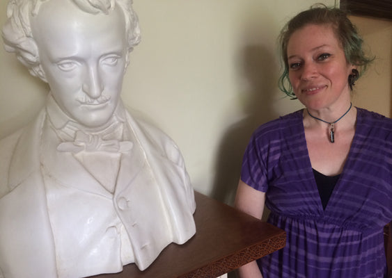 Katie Bell and Bust of Edgar Allan Poe