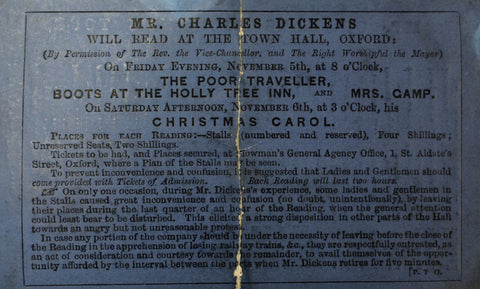 Dickens's reading tour advertisement