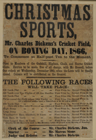 Poster, advertising sports at Dickens's Sports Ground