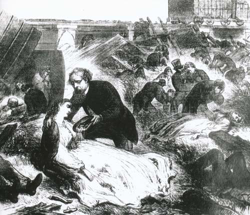 An illustration showing Charles Dickens at the site of the accident, assisting an injured passenger. Charles Dickens Museum.