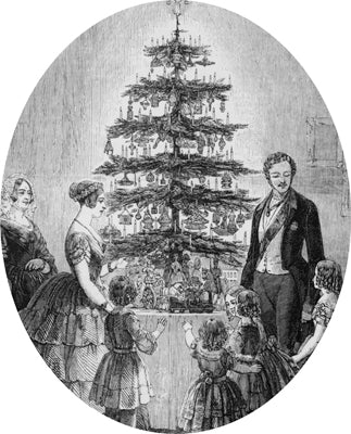 The Royal Family round their Christmas tree (Illustrated London News, 1848)