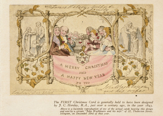 The first Christmas card. Designed by John Callcott Horsley for Henry Cole, 1843