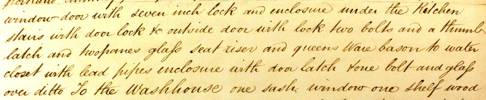 Record on the 1837 schedule of property for two Water Closets. Charles Dickens Museum Collection (B375).
