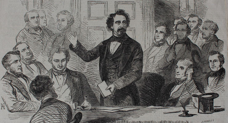 Dickens giving a speech at the Dulwich College charity meeting at the Adelphi Theatre