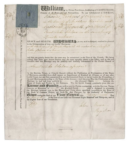 Catherine and Charles Dickens's marriage license, 29 March, 1836