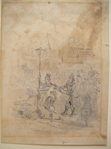 Preliminary sketch for 'A sudden recognition' for Nicholas Nickleby by Hablot Knight Browne, Pencil and wash, 1839