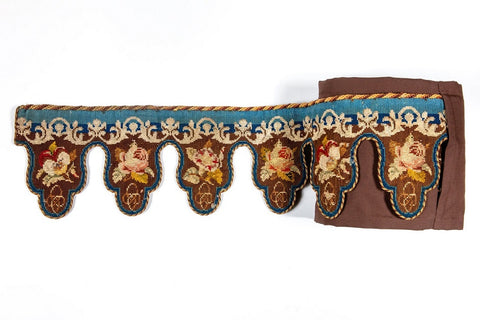 Embroidered mantel pelmet made by Catherine Dickens, canvas and wool, 1853
