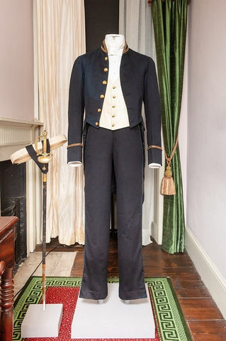 Image of court suit made of wool, cotton, with metal trim and buttons