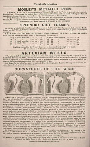 Advertisement for spine corrector from The Nickleby Advertiser