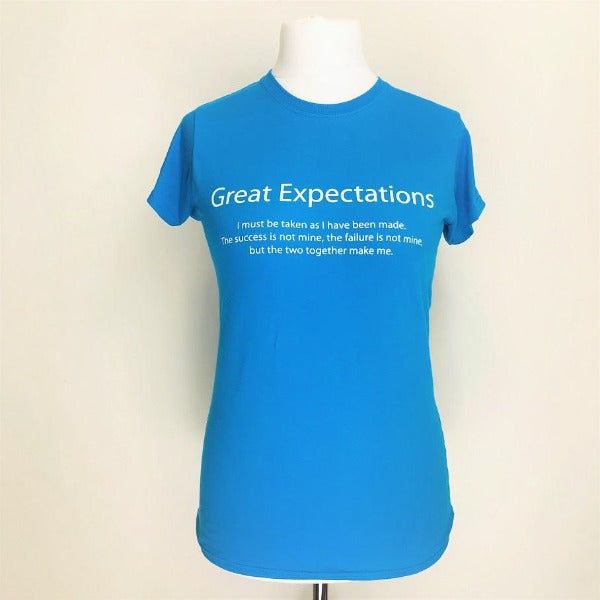 Blue cotton t shirt with white lettering quote from Great Expectations