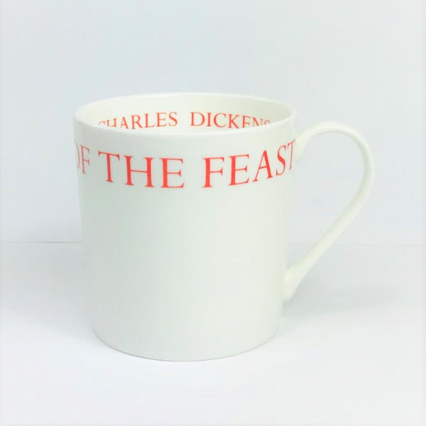A Christmas Carol White China Mug with red lettering