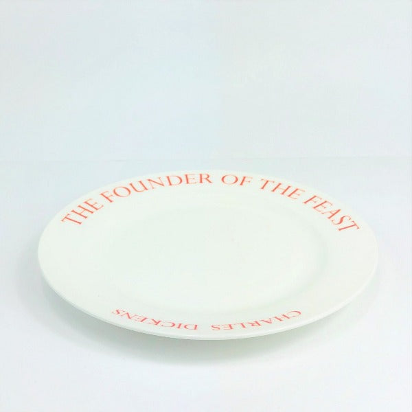 A Christmas Carol White China Plate with red lettering