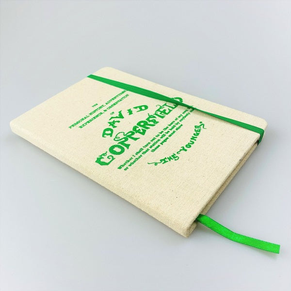 David Copperfield Beige Clothbound Notebook with Bright Green Lettering
