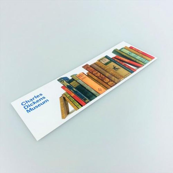 Bookmark with an image of Dickens's Christmas stories books.