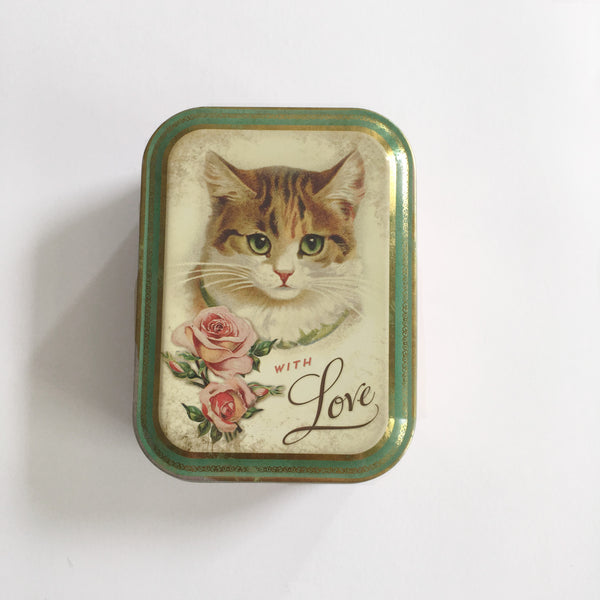 Vintage 'With Love' Cat Tin