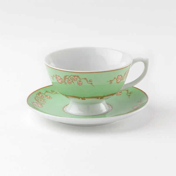 Regency Teacup and Saucer Green