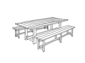 FRAON Solid Oak Outdoor Dining Set