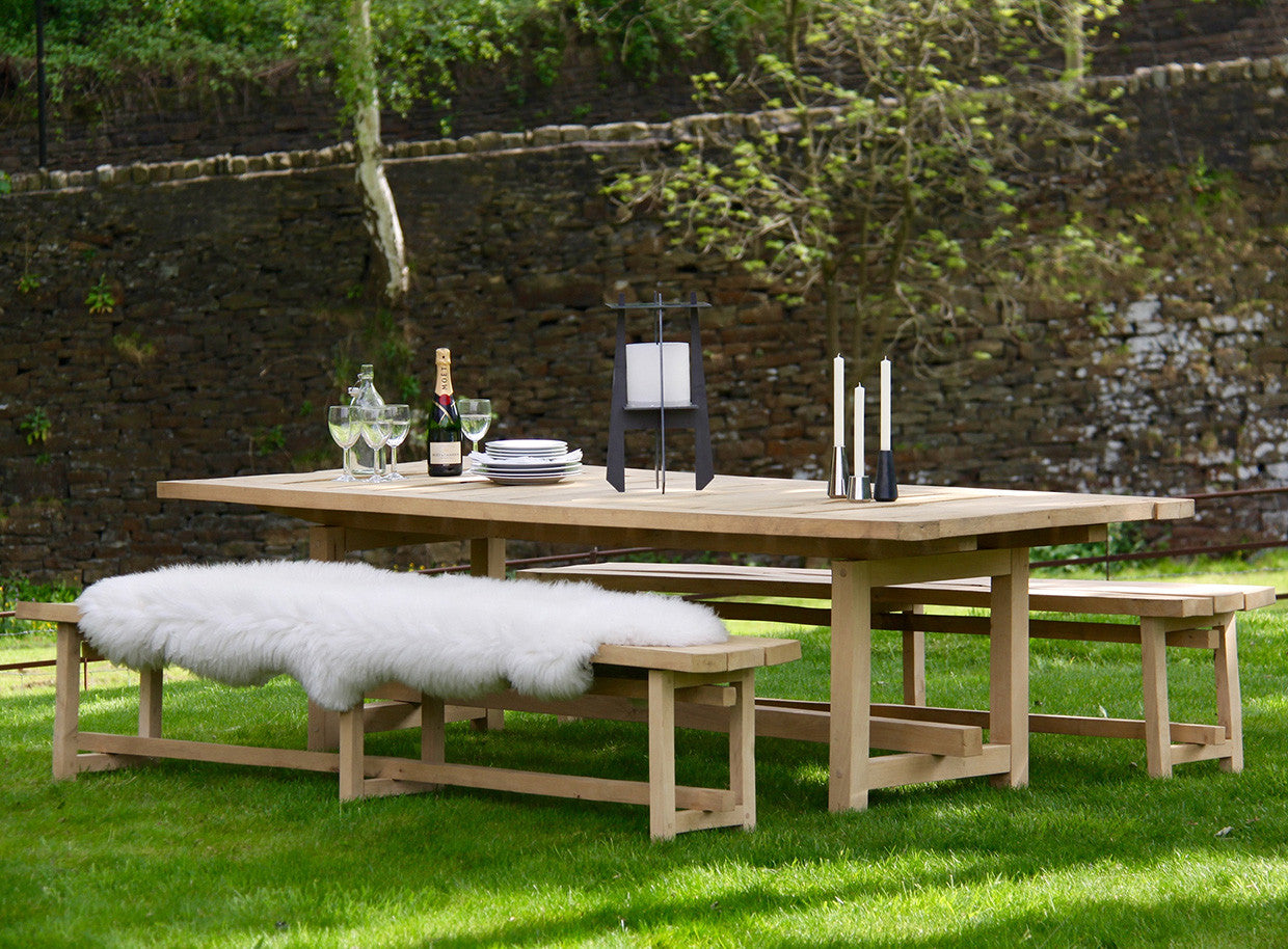 FRAON - solid air-dried oak outdoor table \u0026 bench set & DYEHOUSE Fraon Solid Air-Dried Oak Outdoor Table \u0026 Bench Set - The ...