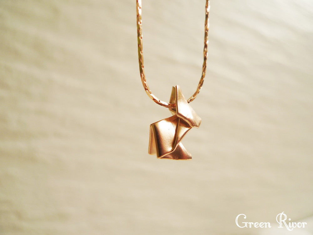 Rose Gold Plated 925 Silver Origami Rabbit Necklace