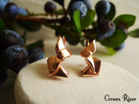 18K Rose Gold Plated Origami Rabbit Stud Earrings
