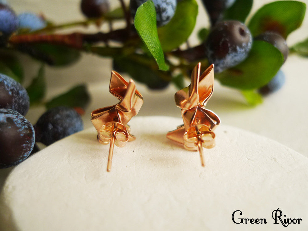 Rose Gold Plated Origami Rabbit Stud Earrings