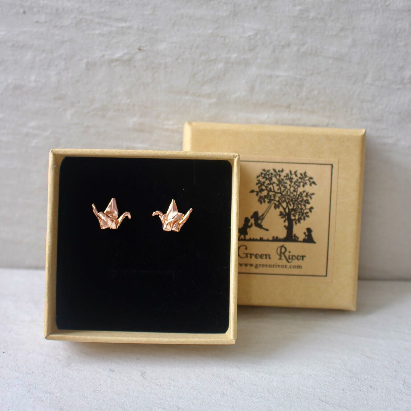 Rose Gold Plated Silver Origami Crane Earrings