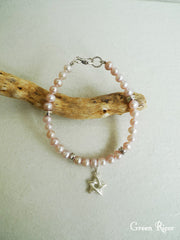 Star Bracelet with Genuine Pink Pearl and Vintage Clasp