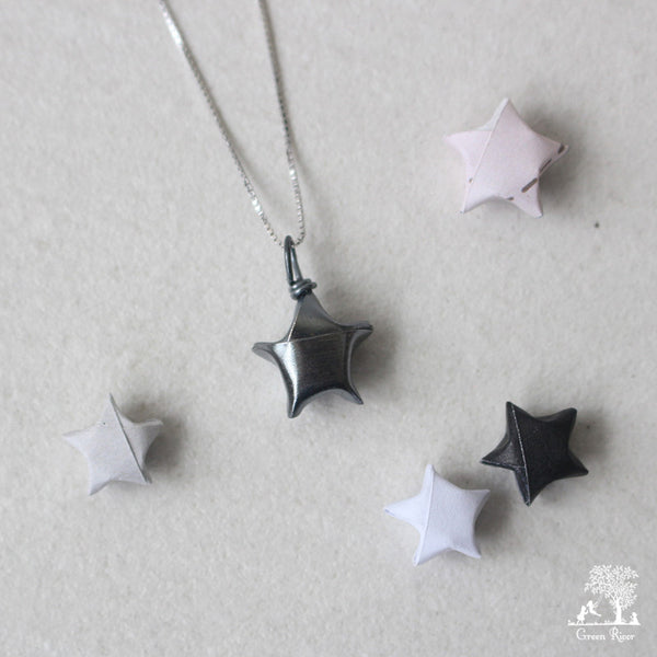 Black Silver Lucky Star Necklace/Origami Star Silver Necklace/Paper Star Necklace