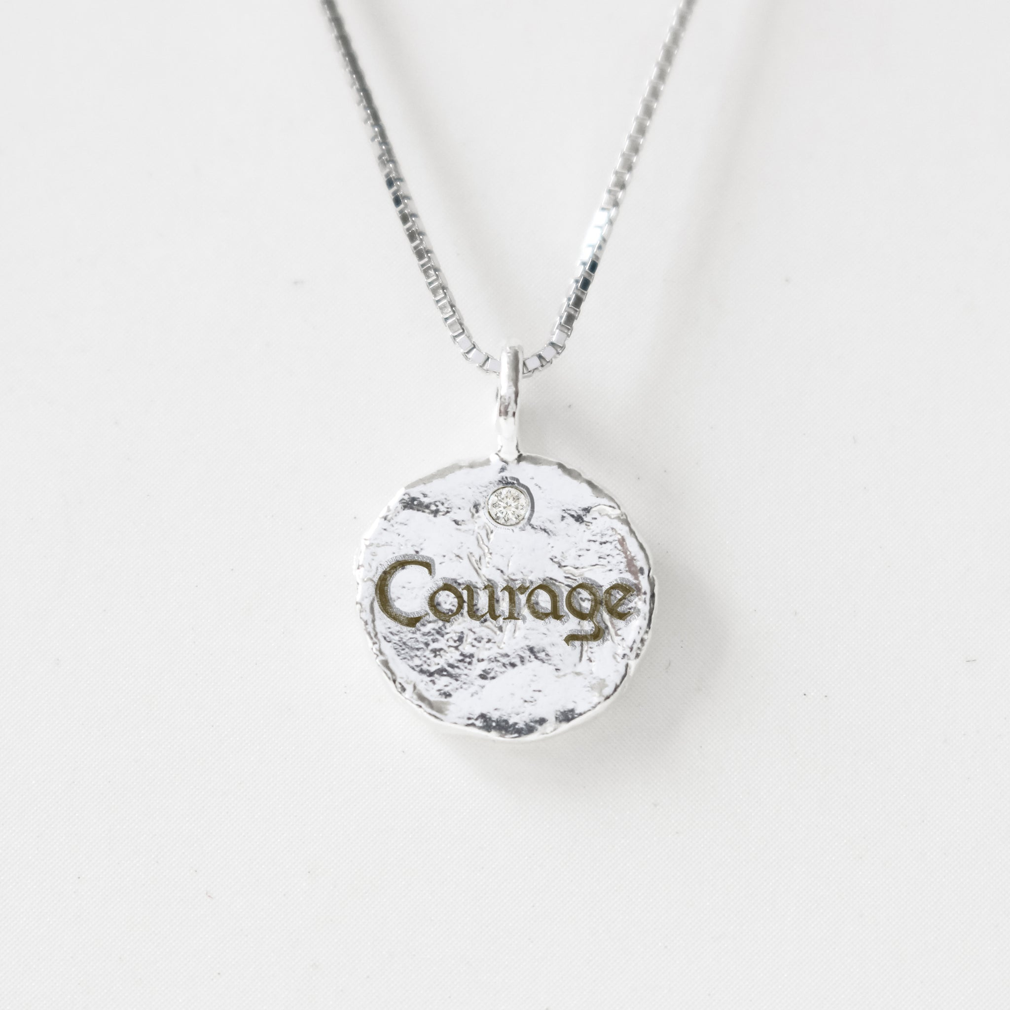Courage - Empowerment Diamond Silver Necklace