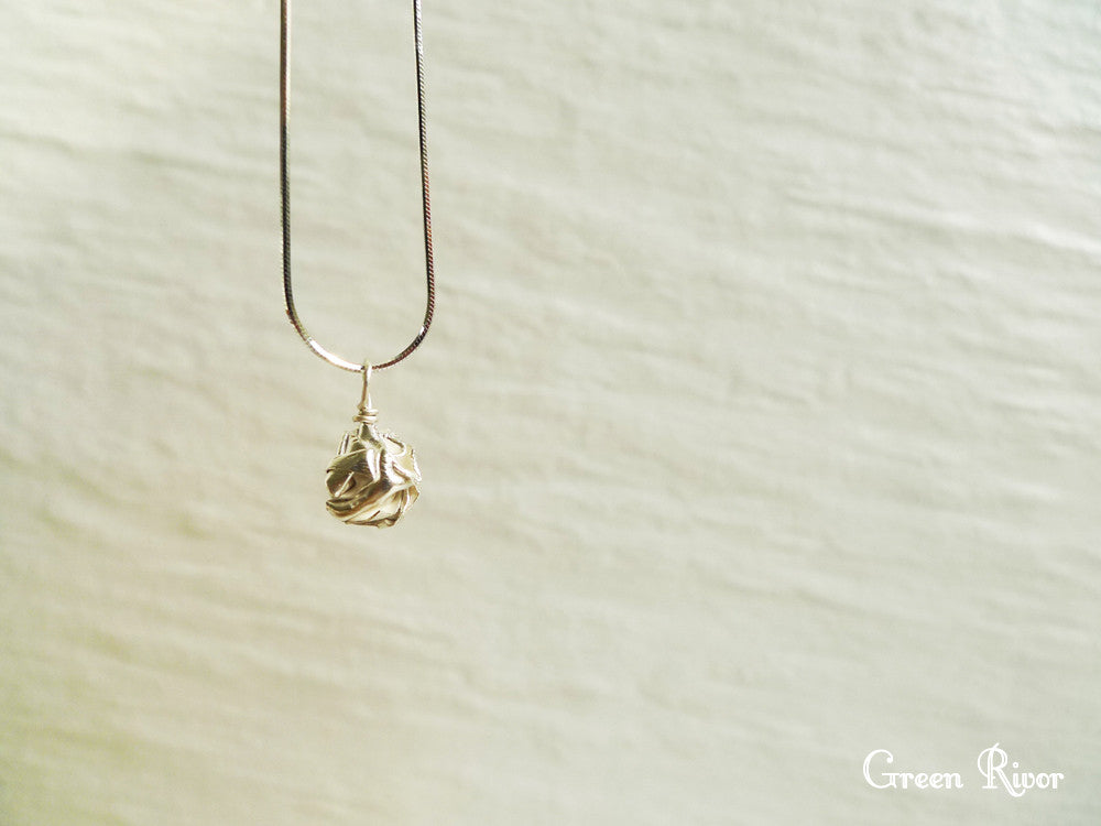 Silver Crumpled Ball Necklace / Silver Ball Necklace / Origami Ball Necklace / Organic Design Necklace