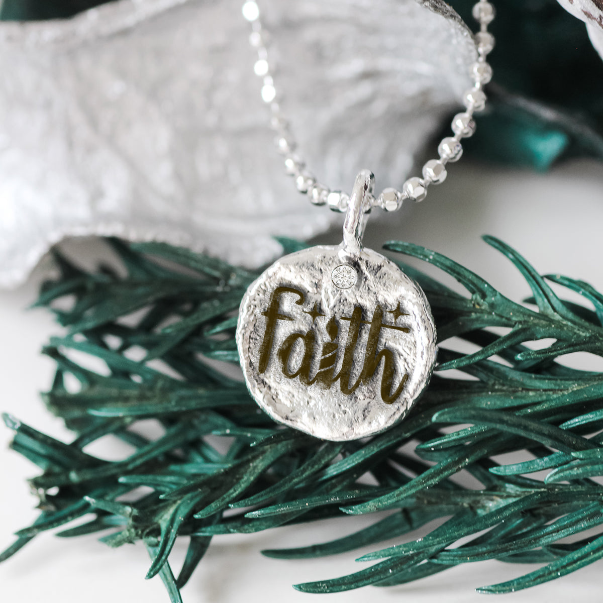 Faith - Empowerment Diamond Silver Necklace