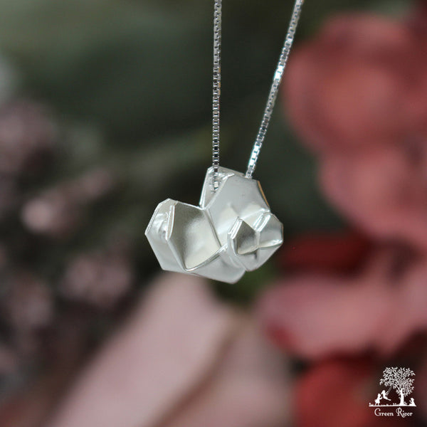 Silver Origami Heart Necklace - Mother's Love