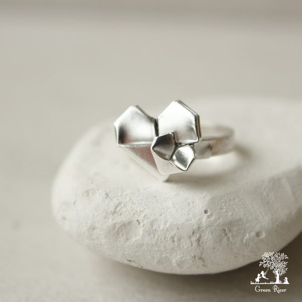 Silver Origami Heart Ring - Mother's Love