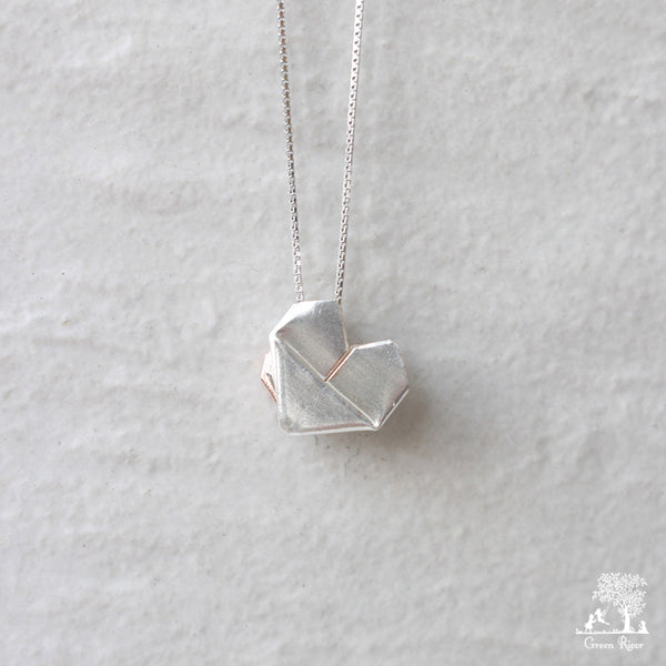 Dual Color Silver Origami Heart Necklace - Mother's Love (Silver and Rose Gold)