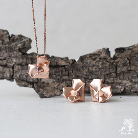 Rose Gold Plated Silver Origami Heart Set - Mother's Love