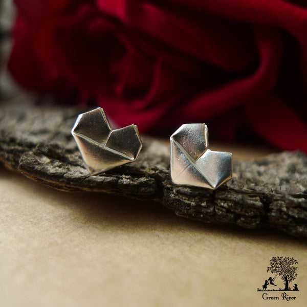Silver Origami Heart Jewellery Set – Green Rivor - photo#45