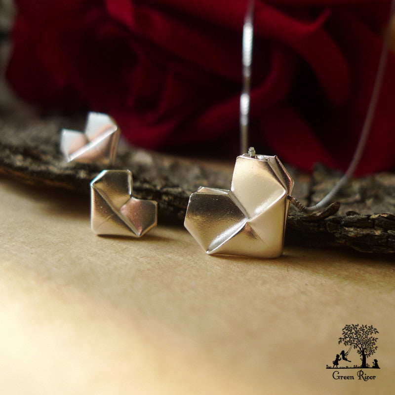 Silver Origami Heart Jewellery Set