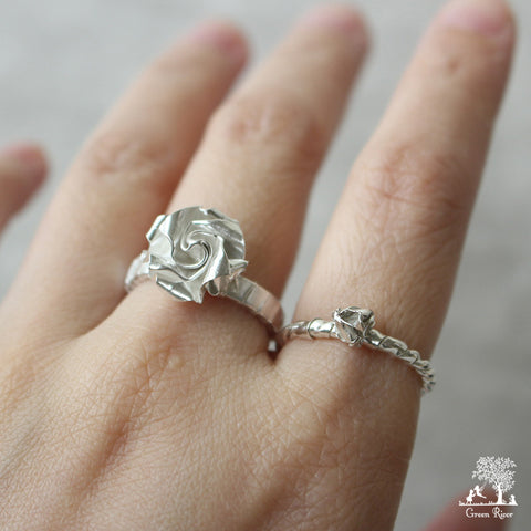 Origami Silver White Rose Stack Rings / White Silver Rose Ring
