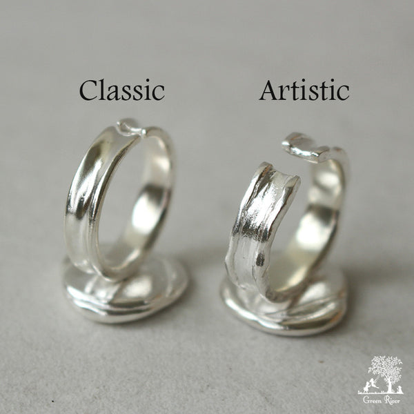 Sterling Silver Wax Seal Ring - Initial Monogram R