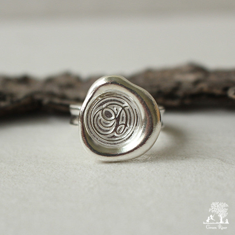 Sterling Silver Wax Seal Ring - Initial Monogram D