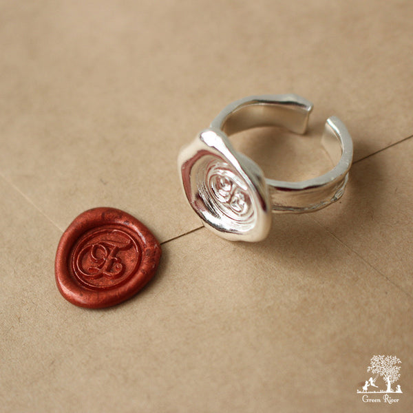 Sterling Silver Wax Seal Ring - Initial Monogram E