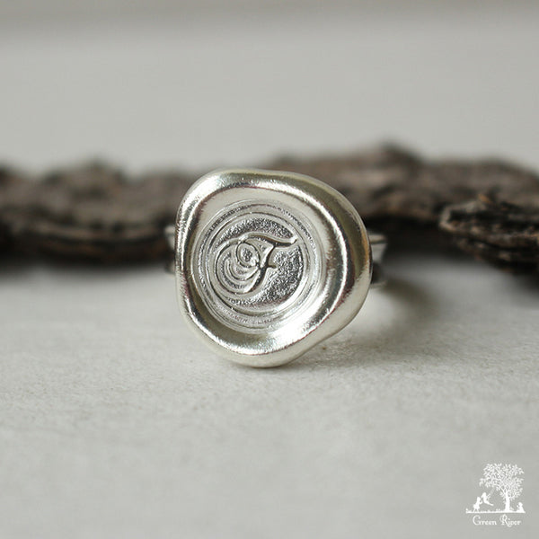Sterling Silver Wax Seal Ring - Initial Monogram F