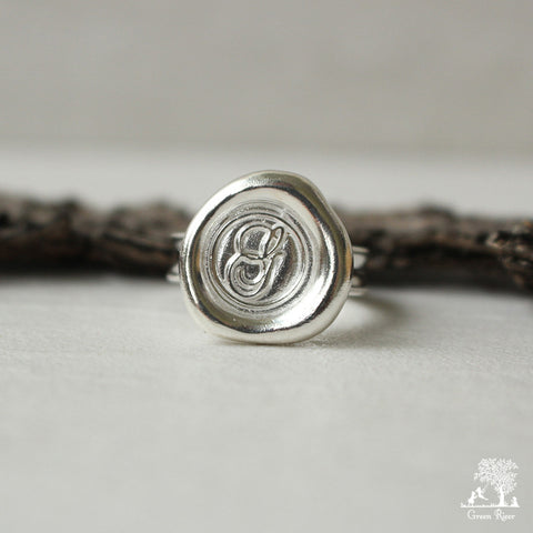 Sterling Silver Wax Seal Ring - Initial Monogram G